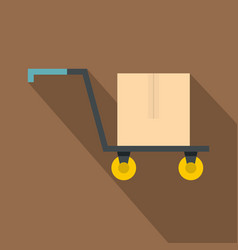 hand truck with cardboard box icon flat style vector image