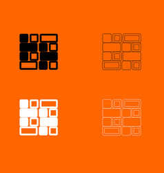 Tile black and white set icon vector