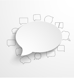 Blank white paper speech bubble with shadow and vector image