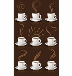 coffee cups and steam vector image vector image