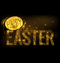 easter linear style banner dark vector image vector image