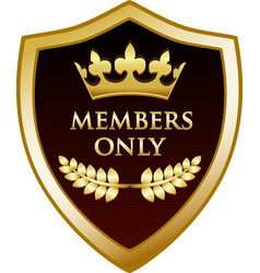members only gold shield vector image vector image