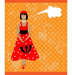Retro card with girl in red vector image vector image