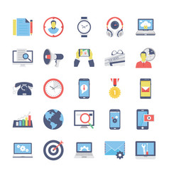 seo and marketing flat colored icons 2 vector image