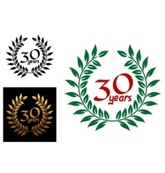 30 years anniversary laurel wreaths vector image vector image