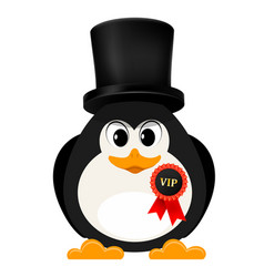 Abstract penguin is free of charge with a badge vector