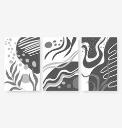 abstract shape wavy line leaf plant set vector image