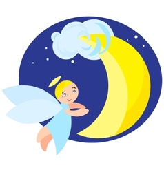 angel and moon vector image