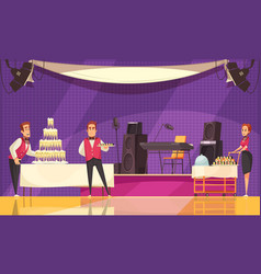 Banquet preparation cartoon vector