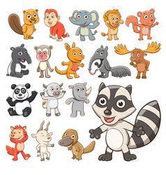 big set animals collection cute animals in vector image