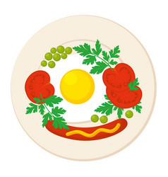 breakfast plate isolated vector image