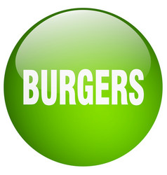 Burgers green round gel isolated push button vector