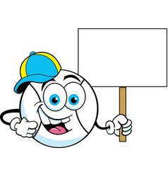 cartoon baseball wearing a baseball cap and holdin vector image