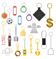 cartoon color keychains different types set vector image