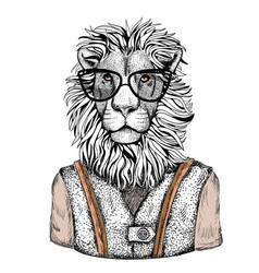 Cartoon hand drawn animal hipster in fashion suit vector