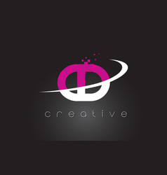 Cd c d creative letters design with white pink vector