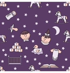 Child and baby cute seamless pattern vector