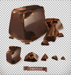 Chocolate pieces 3d set vector