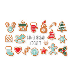 christmas gingerbread cookies big set traditional vector image