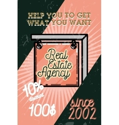 Color vintage real estate agency banner vector