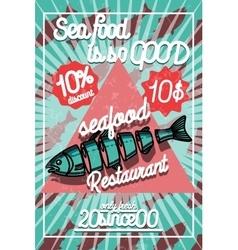 Color vintage seafood restaurant poster vector image