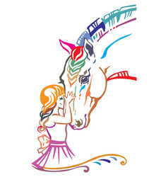 Colorful girl and horse vector
