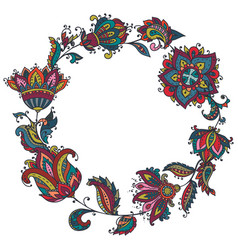 colorful henna floral wreath based on vector image