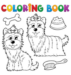 coloring book dog theme 6 vector image