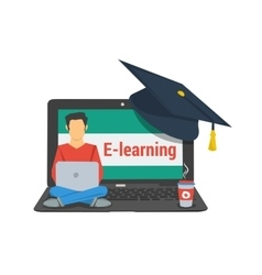 concept e-learning man sitting on laptop vector image