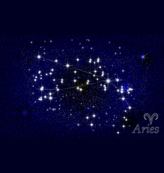 constellation of aries in a starry blue sky vector image