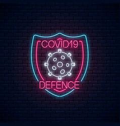 Coronavirus defence neon sign covid-19 virus vector