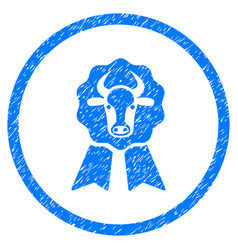 Cow award seal rounded grainy icon vector