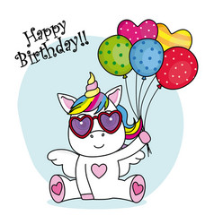 Cute unicorn with sunglasses vector