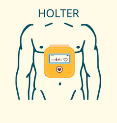 daily monitoring of ecg holter for daily use vector image