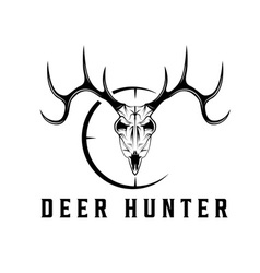 deer skull with target design template vector image