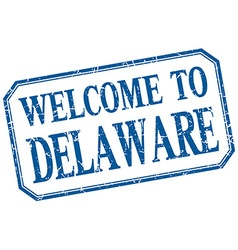 Delaware - welcome blue vintage isolated label vector