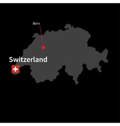 detailed map switzerland and capital city bern vector image