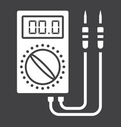 Digital multimeter glyph icon build and repair vector