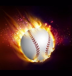 Dirty baseball speeding through the air on fire vector
