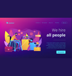 Disabled employment concept landing page vector
