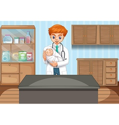Doctor holding baby in clinic vector