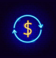 dollar arrow neon sign vector image