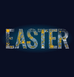 easter linear style banner vector image