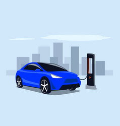 Electric transport fast charge a car vector