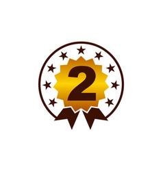 emblem best quality number 2 vector image
