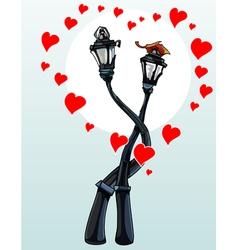 enamored hug street lights with hearts vector image