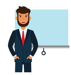 Entrepreneur man startup speech cartoon flat vector