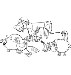farm animals group for coloring vector image