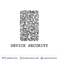 finger print in smartphone shape on white vector image