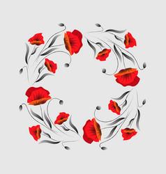 floral frame poppy wreath red poppy flower vector image